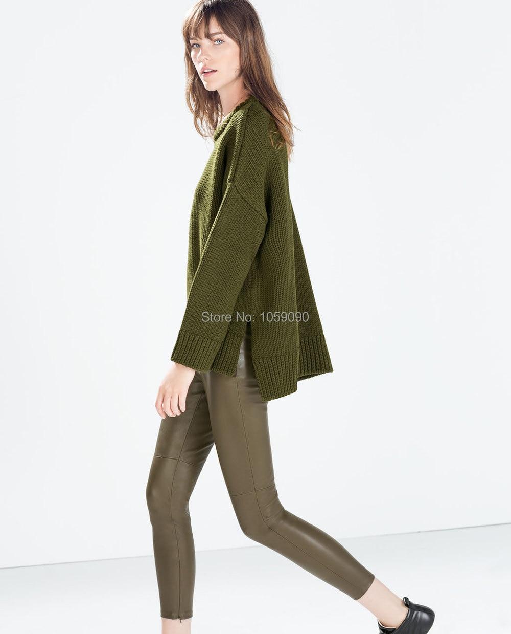 Womens Fashion Brand Beige Army Green Khaki Black Mid Elastic waist zipper pu leather Pencil   pants   Thin stretch Trousers   Capris