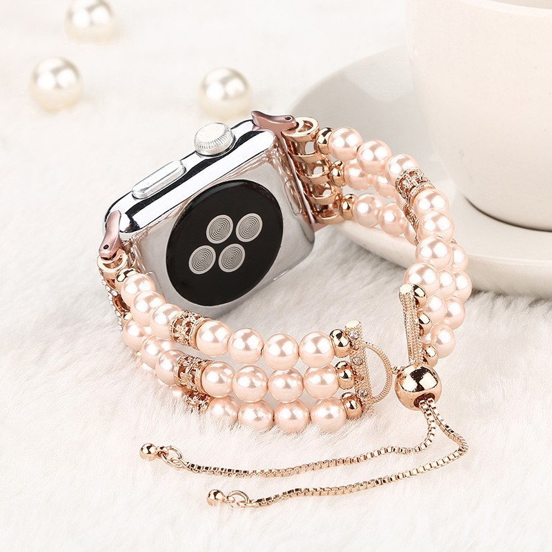 Fashion Pearl Wristband Strap For Apple Watch Bands 44mm 42 Series 4 3 2 1 Handmade Watch Bracelet Womens Girls Replacement 38mm
