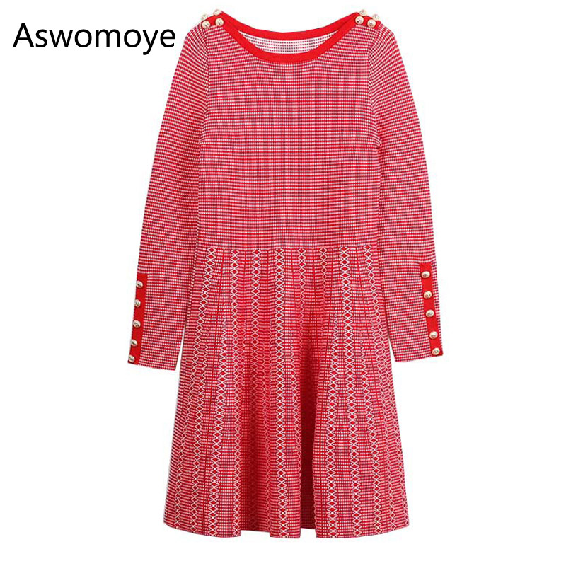 2018 Stylish Spring New Fashion Women Knitted Sweater Dress Full Sleeve O-neck with Button Striped Pleated Dress Above Knee