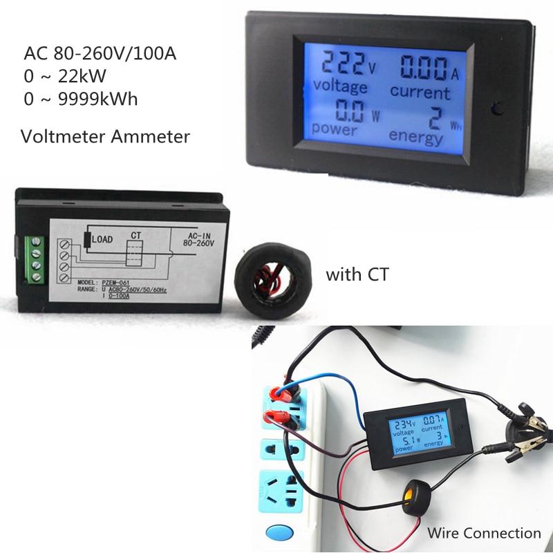 AC 80-260 V/100A Volt Amp Meter AC Multi function Voltage amperie Power Energy Tester con transformador de corriente
