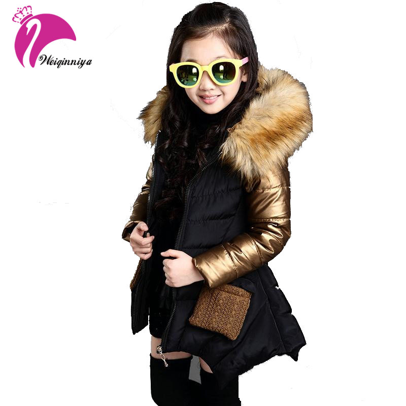 2017 Fashion Girls Winter Jacket New Brand Style Long Fur Hooded Children's Parka Coat Kids Cotton Warm Down Clothes Outwears kulazopper large size women s winter hooded cotton coat 2018 new fashion down cotton padded jacket long female warm parka yl041