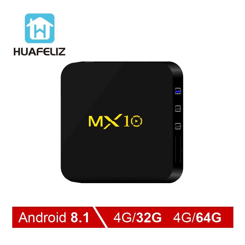 2018 MX10 4G+32G//4G+64G Android 8.1 Smart TV BOX Quad Core 4K WIFI 3D USB 3.0