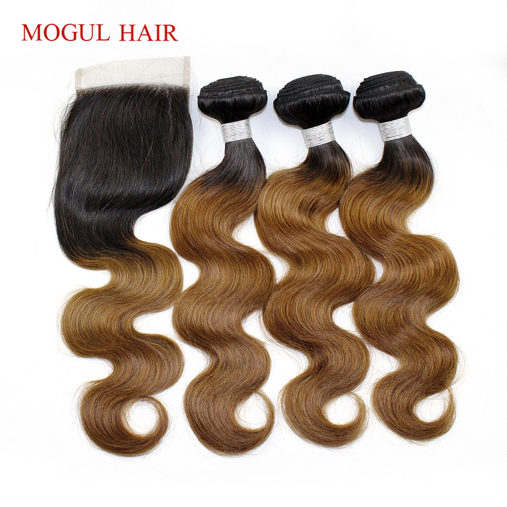 3/4 Bundles with Lace Closure T 1B 30 Ombre Brown Auburn Bundles with Closure Peruvian B ...