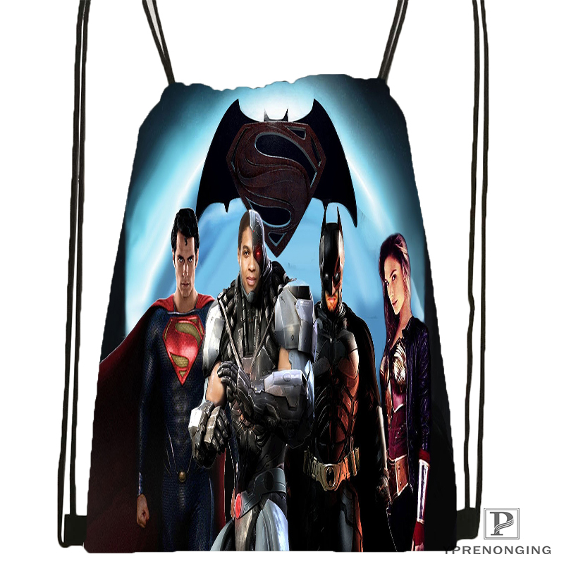 Custom Superman Vs Batman Drawstring Backpack Bag Cute Daypack Kids Satchel (Black Back) 31x40cm#180531-04-48