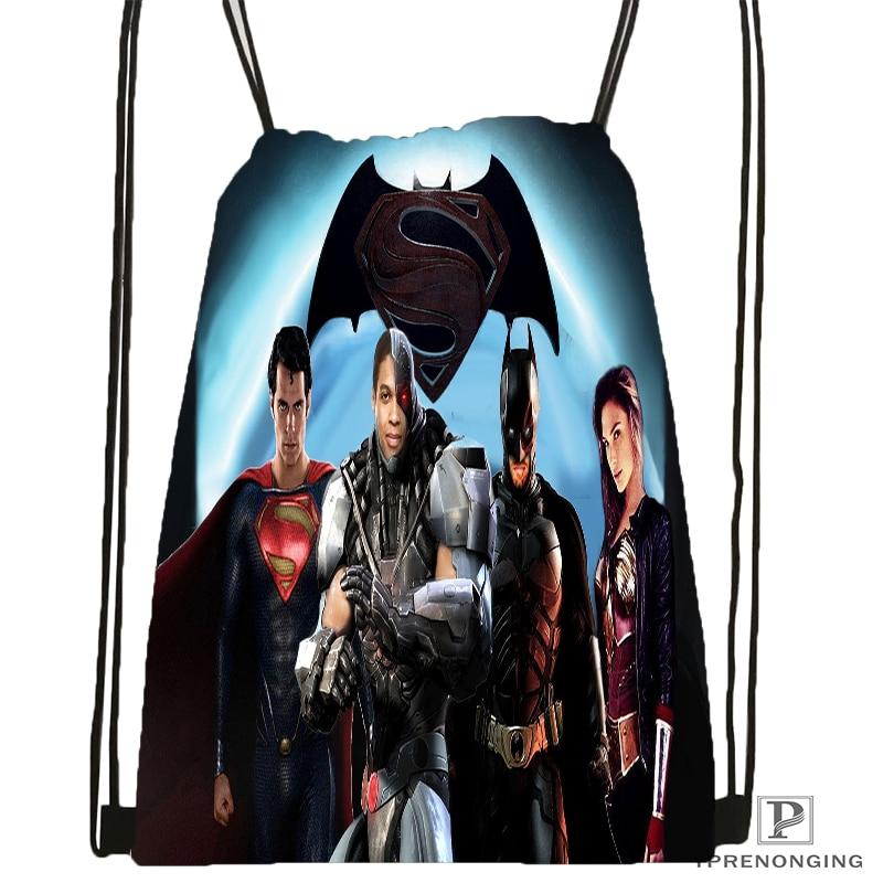 Custom Superman Vs Batman Drawstring Backpack Bag Cute Daypack Kids Satchel Black Back 31x40cm 180531 04