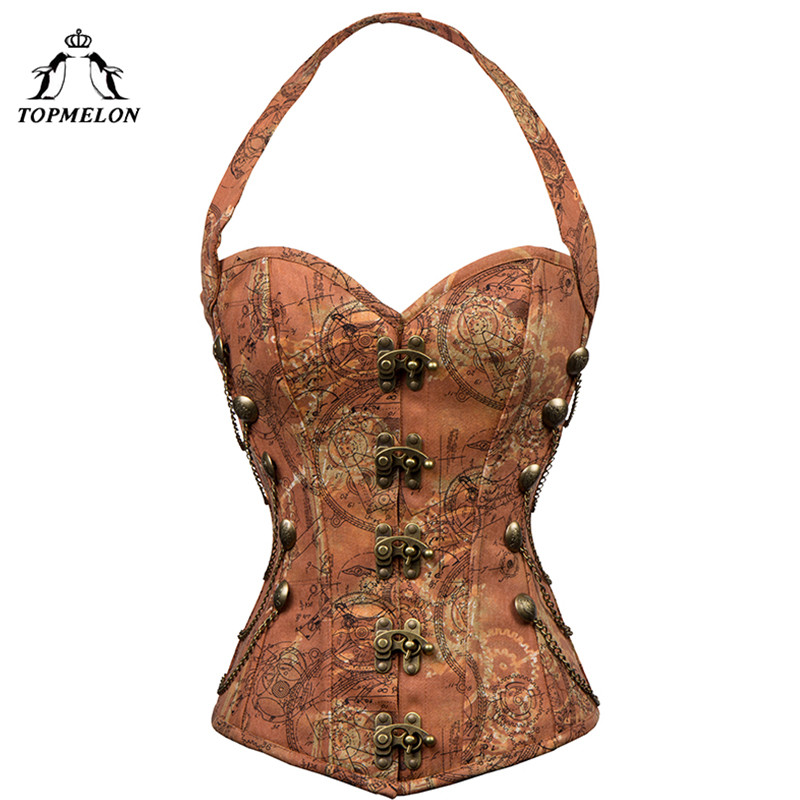 TOPMELON Retro Corselet Steampunk Corset Women Bustier Gothic Corsets and Bustiers Chains Halter Buckles Gears Pattern Tops