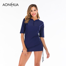 Aonihua Sexy Two Piece Swimsuit Summer Long Sleeve Beach Surfing Swimwear Suit  For Women Plus Size