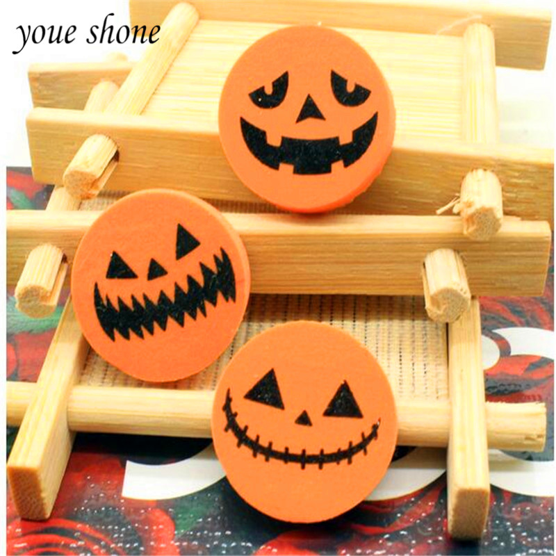 YOUE SHONE 3PCS Creative Halloween Rubber Pencil Eraser Pumpkin Printing Eraser For Student Stationery Gift Prize Wholesale