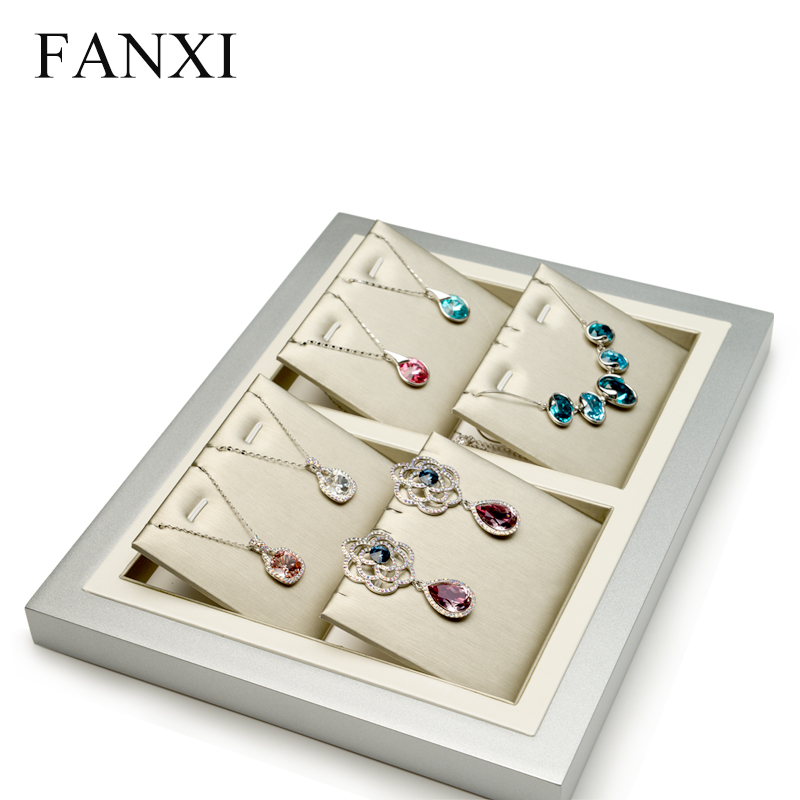 FANXI Luxury Sliver Wooden Jewelry Display Tray Ring Earring Pendant Necklace Storage Exhibitor Tray Holder Jewelry