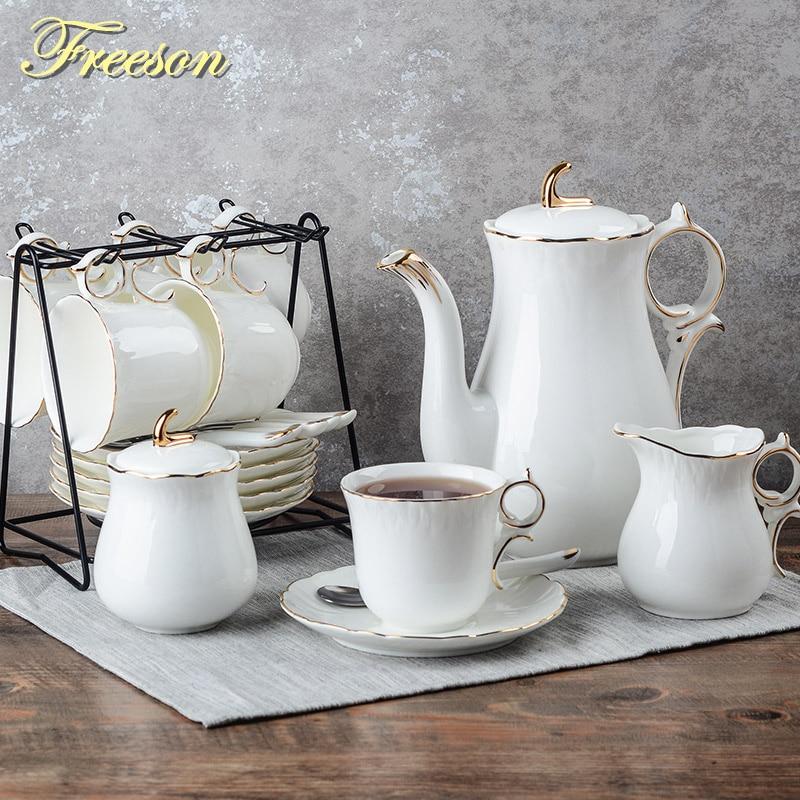 Europe Concise Bone China Coffee Set Porcelain Tea Set Ceramic Pot Creamer Sugar Bowl Teatime Teapot Coffee Cup Tea Cup