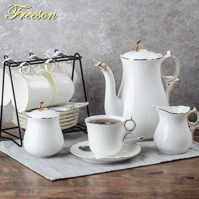 Europe Concise Bone China Coffee Set Porcelain Tea Ceramic Pot Creamer Sugar Bowl Teatime Teapot