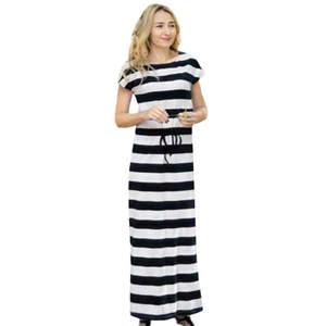f588fe9cde5 2018 Women Striped Sundress Lacing Slim Dress Clothes