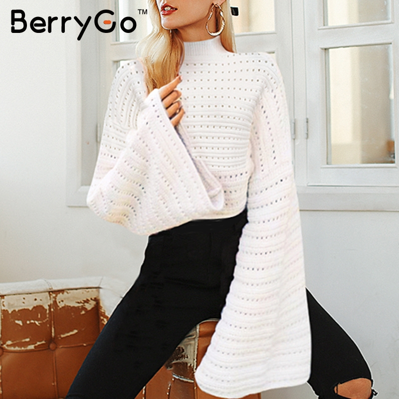 BerryGo Elegant White Turtleneck Knitted Women Sweater Batwing Hollow Sleeve Pullovers Casual Sweet Autumn Winter Jumpers 2018