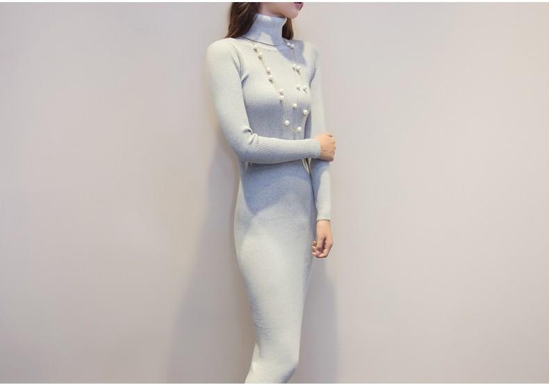 AKSLXDMMD 17 New Women Dress Autumn And Winter Sweater Dresses Slim Turtleneck Long Knitted Dress Sexy Bodycon Robe dress D019 30