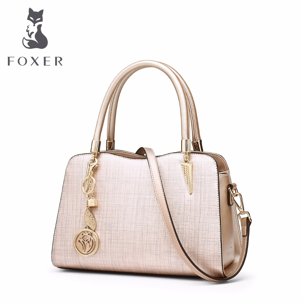 FOXER Brand Crossbody Bags For Women Designer Handbags Women Famous Brands Cowhide Leather High Quality Shoulder Bags burminsa brand winter round saddle genuine leather bags smiley designer handbags high quality shoulder crossbody bags for women