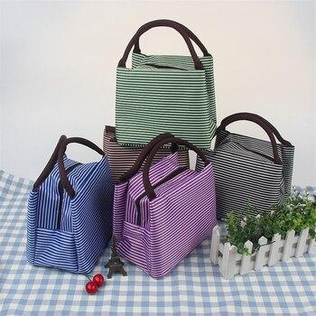 Pasiaste pudełko na Lunch dla kobiet dzieci mężczyźni izolowana torba z grubej bawełny chłodnica termiczna żywności torby na Lunch wodoodporny uchwyt do przenoszenia walizek na Lunch