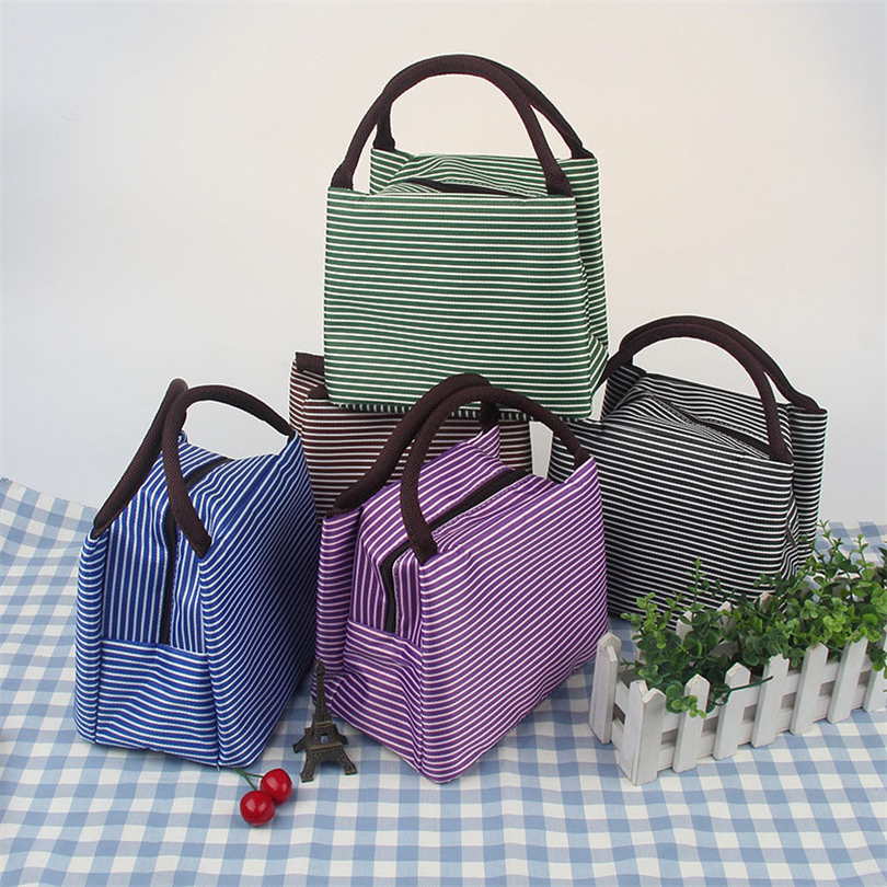 Striped Lunch Box For Women Kids Men Insulated Tote Bag Thermal Cooler Food Lunch Bags Waterproof Handle Carrying Lunch Cases