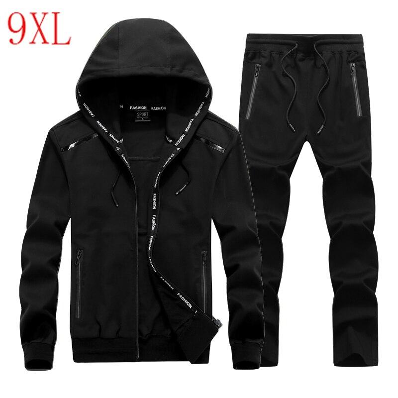 Men Sporting Suit Elastic Plus Size Hoodie Set Windproof  Sportswear Big Size 8XL 9XL Loose Sportsuit Man Tracksuit Sets