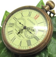 !!!Old 3 dials 5 Hands 1856S LONDON Brass Mechanical Pocket Watch Free shipping