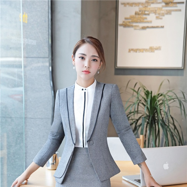 30a6aede1c34e Plus Size 4XL Elegant Grey Formal Blazers Long Sleeve Autumn Winter Jackets  Coat For Ladies Office Outwear Female Tops Clothes