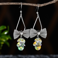 Fashion Colorful Crystal Bowknow Silver Color Earrings Long Drop Dangle Jewelry for Women Girls