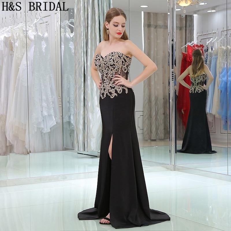 H & S BRIDAL Sweetheart Lace Applique Kralen Avondjurken vestidos de festa Chiffon Backless Avondjurk vestido longo - 3