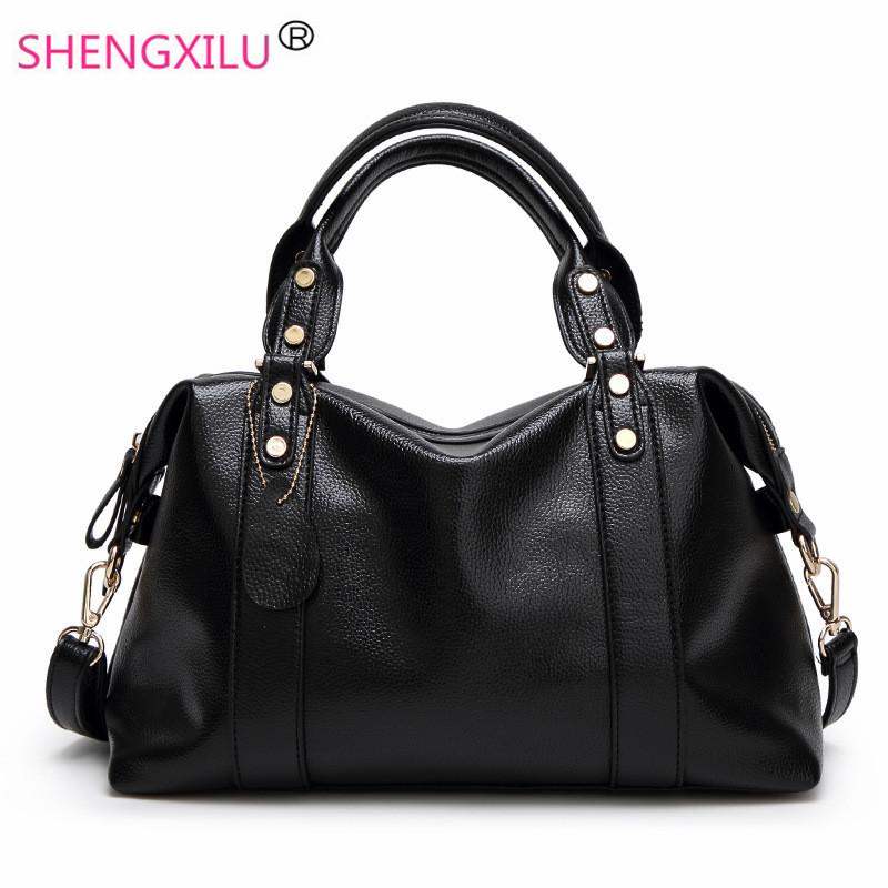 Prix pour Shengxilu 2017 printemps véritable cuir femmes sacs à main marque de mode dames sacs sacs à bandoulière noir femelle bandoulière sacs