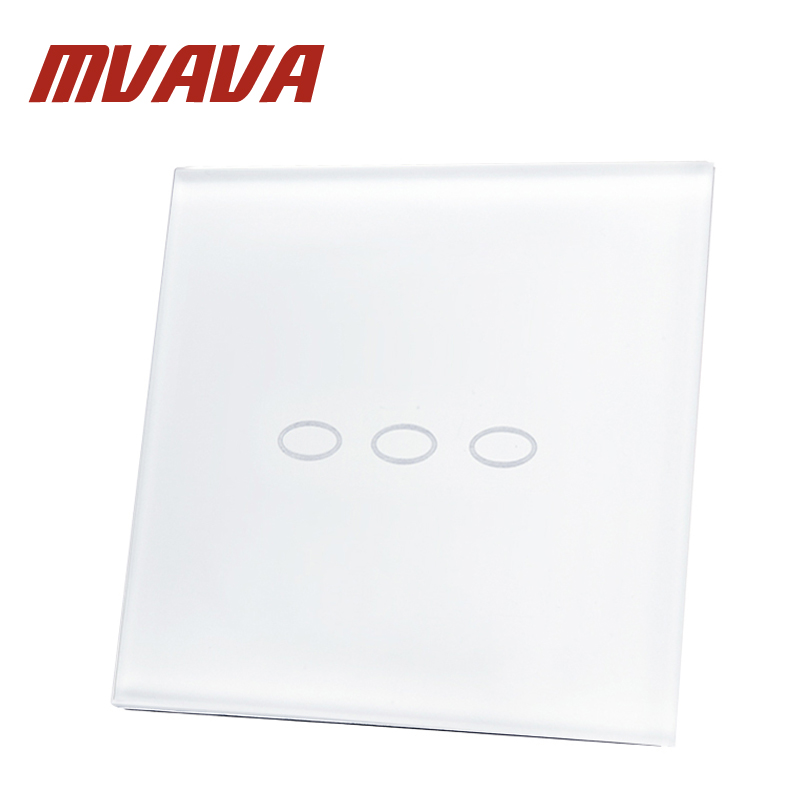 MVAVA Wall Switch Ivory White Crystal Glass Panel 3 Gang 2 Way 110~250V Double Control Home Touch Screen Light UK Switch qmn women genuine leather platform flats women cow leather oxfords retro square toe brogue shoes woman leather flats creepers