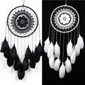 White Black Feather Gift  Antique Imitation Dreamcatcher Dream Catcher Net Natural Feathers Wall Hanging Decoration Ornament