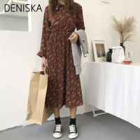 DENISKA 2018 Spring Autumn Dress Chiffon Sweet Women O Neck Long Sleeve Floral Dress Elastic Waist