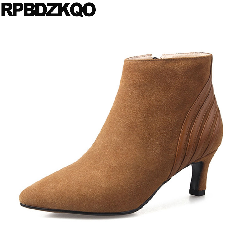 Suede Designer Ankle Short Stiletto Boots Pointed Toe Brown Luxury Brand Shoes Women Genuine Leather Fall Fur Booties Autumn