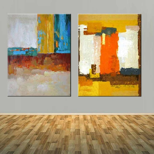 Modern Abstract Art Handmade Double Panels Color Canvas Oil Painting Yellow  Abstract Wall Picture Living Room