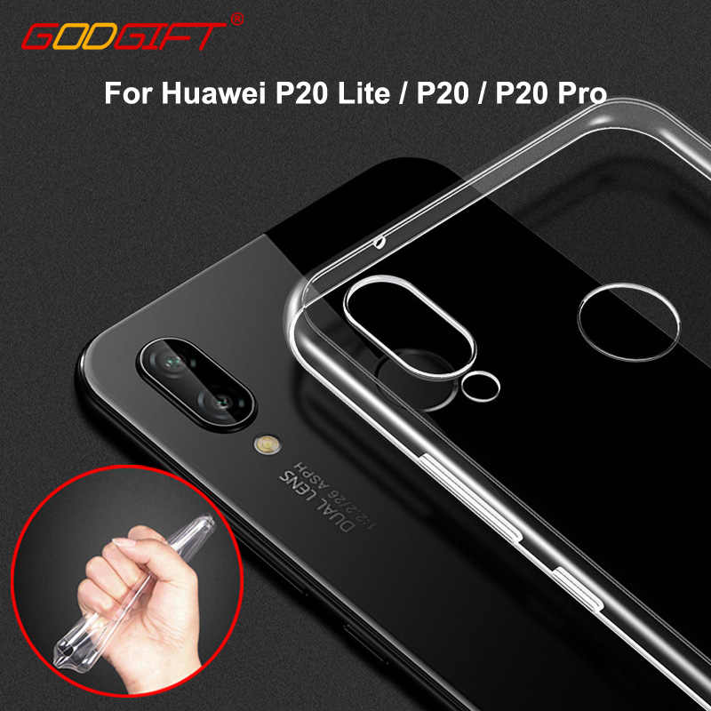 GodGift Huawei P20 Lite Case Soft Cover Luxe Huawei P 20 Transparant Siliconen Cover Voor Huawei P20 Pro Telefoon Gevallen back Cover