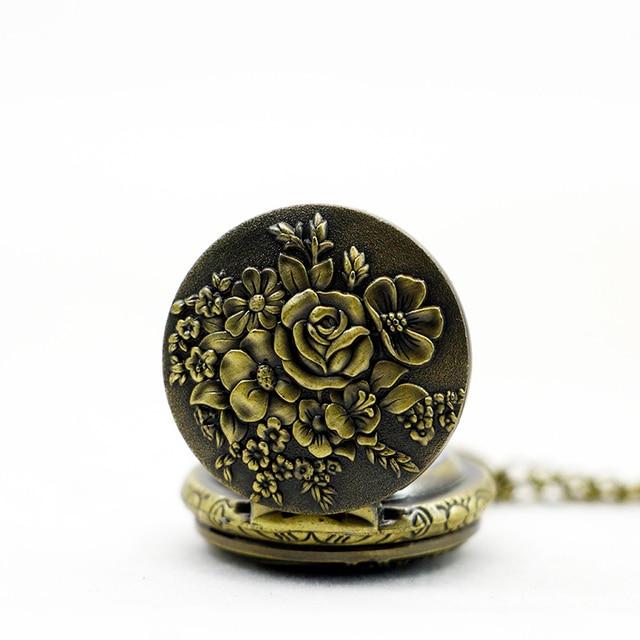Fashion Small Size Bronze Flower Pattern Women Pendant Necklace Pocket Watch