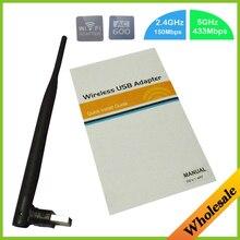Neue Mini 2,4 GHz und 5 GHz USB 150 Mbps Wireless AC600 Dual Band 802.11ac Wifi Antenne Adapter Wi fi Netzwerk Lan-karte, Freies verschiffen