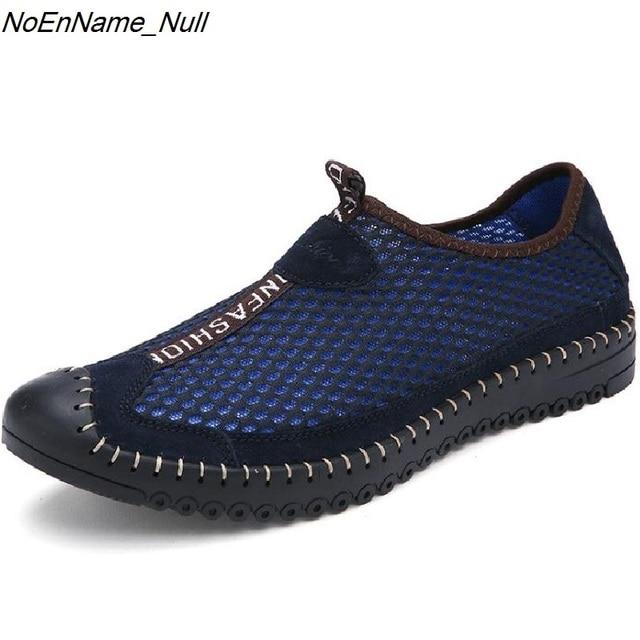 Мужские Сетки Обувь Сандалии Дышащий Повседневная Обувь Из Натуральной Кожи Мода Zapatos Хомбре Человек Мягкая Удобная Обувь