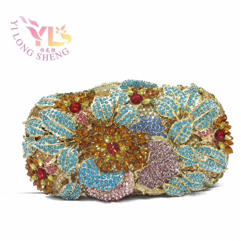 Latest Women Handbags Whoesale Price Luxury Floral Crystal Wedding Purse Party Clutch YLS-F11 luxury crystal clutch handbag women evening bag wedding party purses banquet