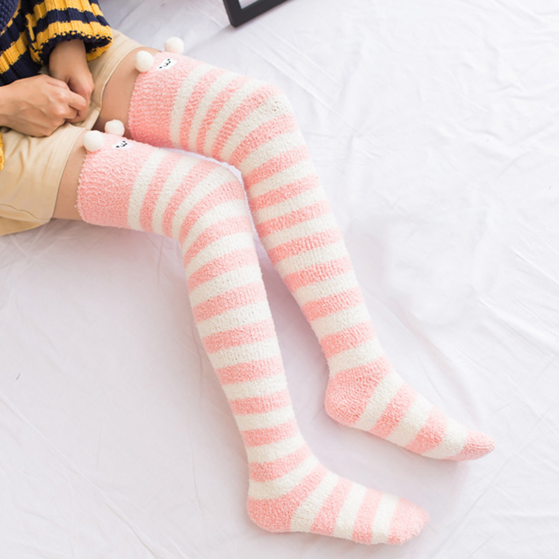 New Japanese Girl Animal Modeling Knee Socks Striped Cute Lovely Kawaii Cozy Long Thigh High Socks Winter Warm Sock