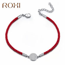 ROXI Lucky Red Thread String Bracelets For Women Geometric Round Clear Zircon Crystal Charm Bracelets Jewelry pulseira masculina(China)