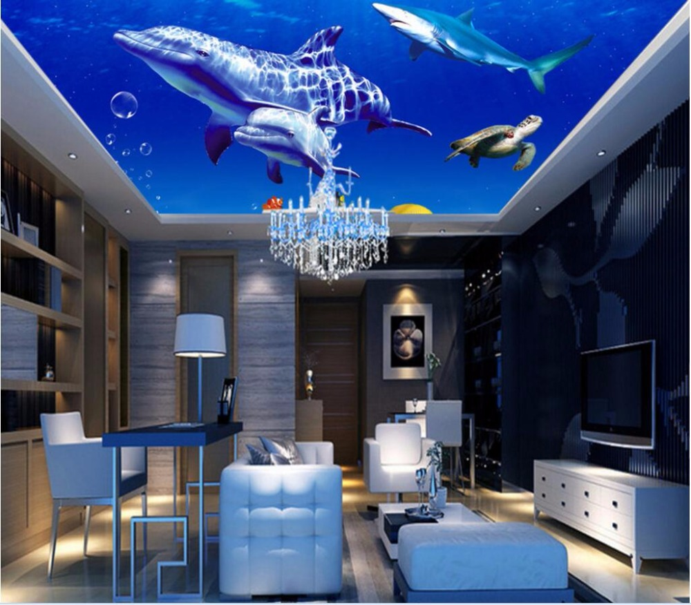 Custom photo 3d ceiling murals wallpaper home decor painting sea whale shark picture 3d wall murals wallpaper for living room custom 3 d wallpaper for living room ceiling murals wallpaper blue sky 3d ceiling wallpaper luxury ceiling wallpaper