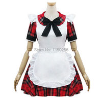 Japan Anime Sexy Girls Halloween Red Plaid Maid Costume DS Bars Bow Cosplay Dress Outfit New Free Shipping