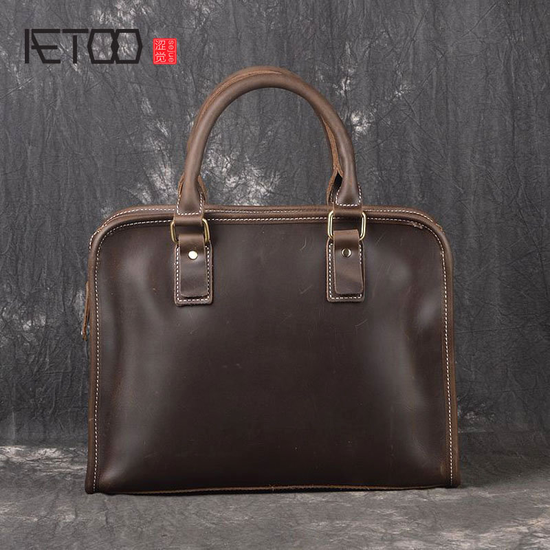 AETOO New imported leather handbag hand shoulder Messenger bag head layer of leather fashion simple A4 bag men and women bag yuanyu 2018 new hot free shipping python leather handbag leather handbag snake bag in europe and the party hand women bag