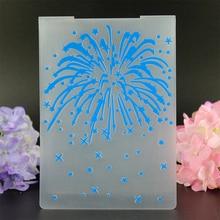 YLEF057 Fireworks Plastic Embossing Folder For Scrapbook Stencils DIY Photo Album Cards Making Decoration Template 10.5*14.5cm
