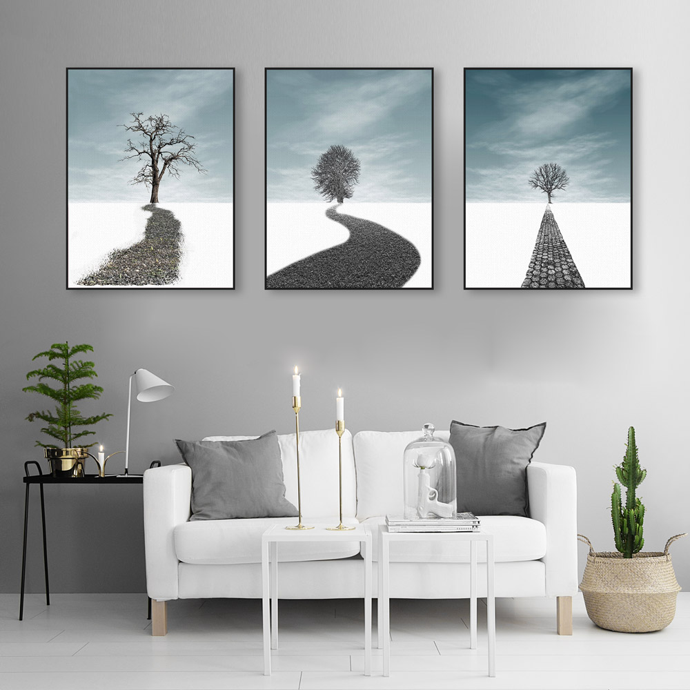 Modern Abstract Landscape Tree Road Big Canvas Art Print Poster Wall  Picture Painting No Frame Triptych