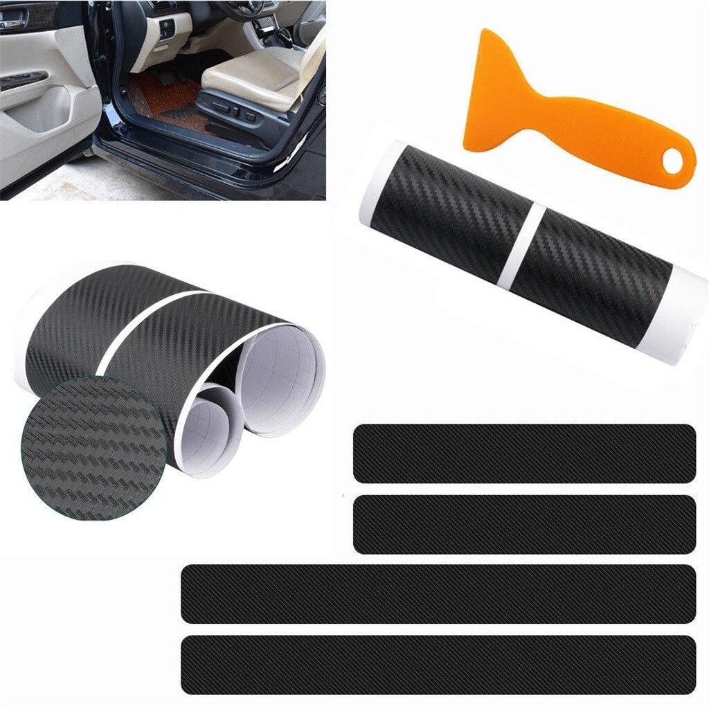 4X Accessories Carbon Fiber Car Door Plate Sill Scuff Cover Anti Scratch Sticker