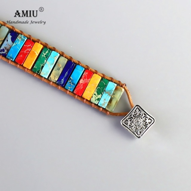 AMIU Handmade 7 Chakra Natural Tube Beads Stone Bracelet Leather Wrap Wax Thread Bangle for Women