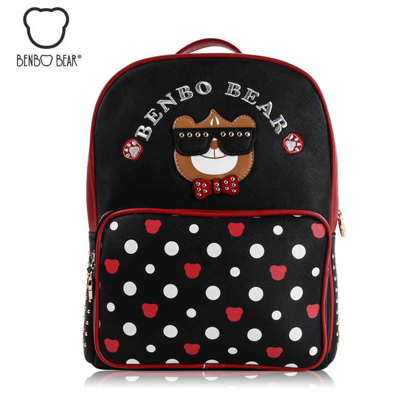 2017 Quality PU Leather Women s Backpacks Fashion Bear Dot Printing Backpack School Book Shoulder