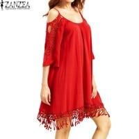 Plus Size ZANZEA Womens Summer Off Shoulder Strappy Vestido 2017 Lace Crochet Hollow Out Splice Party