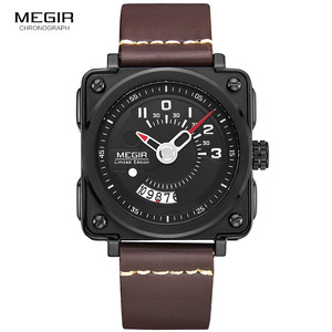 Image 2 - Megir Mens Square Analog Dial สายหนังสายนาฬิกาข้อมือควอตซ์กันน้ำนาฬิกาปฏิทินวันที่ 2040