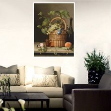 Still Life Oil Painting Peach Pink Rose A Basket of Grapes and Wine Canvas Print for Bedroom Decoration Wall Art Fashion Gifts